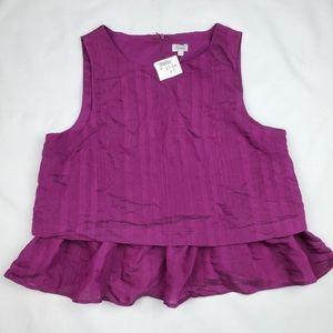 NWT Kismet purple sleeveless peplum top